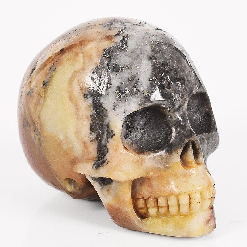 2 Inch Skull Statue Natural Amazonite Stone Human Head Figurine Handmade Refinement Carving Craft Crystal Healing Reiki Decor
