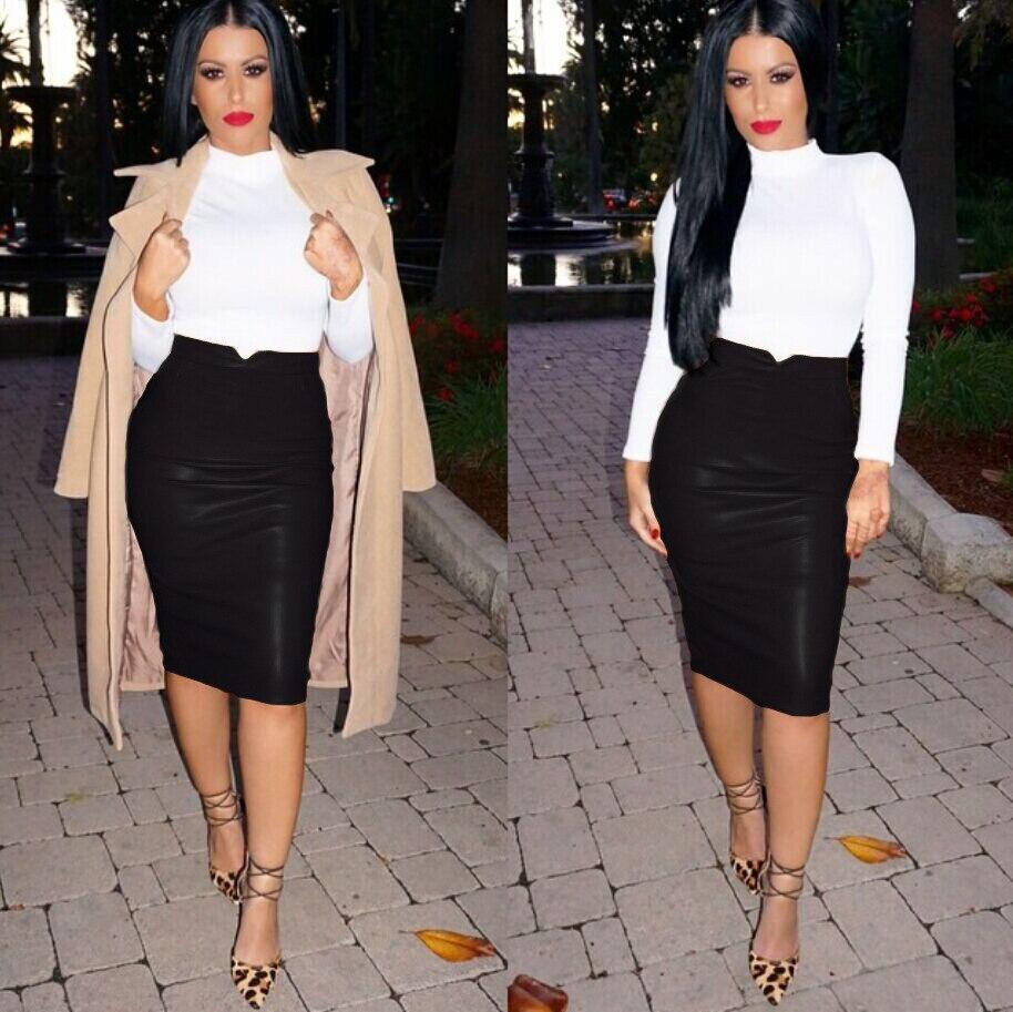 Aliexpress.com : Buy Autumn Winter Skirt Women High Waist PU ...