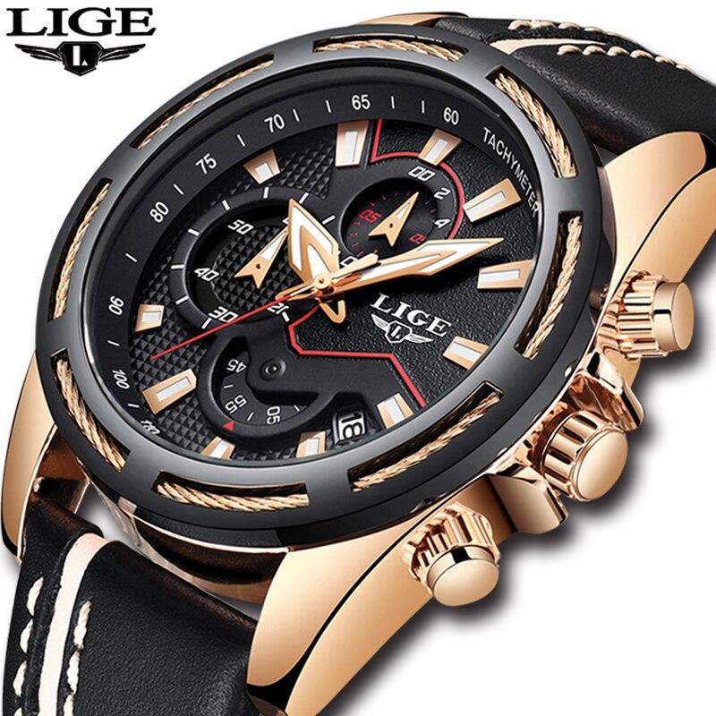 LIGE relogio masculino Mens Relógios Top Marca de Luxo Militar À Prova D' Água dos homens Relógio Do Esporte Dos Homens Casuais relógio de Quartzo de Couro Relógio de Ouro