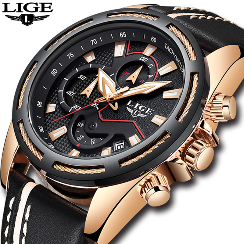 Men's Waterproof Military Sport Casual Leather Quartz Gold Watch