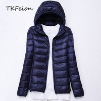 2018 Autumn Womens Jacket Lightweight Plus Size 4XL 5XL 6XL 7XL Ladies Slim Warm Casual Outwear Female Hooded Coat 90% Duck Down