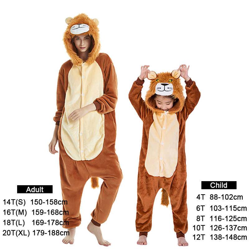 Kigurumi/пижамы с единорогом для мальчиков и девочек; пижамы с изображением Льва; женская одежда для сна с героями мультфильмов; комбинезон для детей; детская пижама; комбинезоны