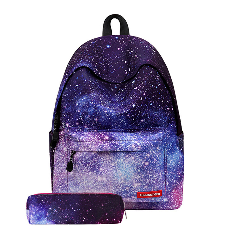 2pcs Backpack 2019 3D Printing Starry Sky SchoolBag New Headphone School Bags For Girls Teenagers Travel Back Pack Women Bags