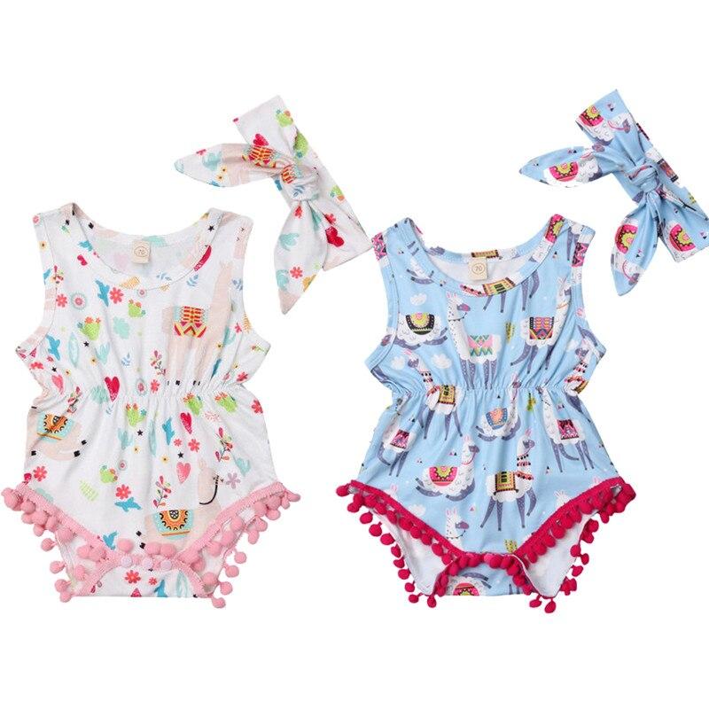2019 Toddler Newborn Baby Girls Llama Print Bodysuit Jumpsuit Outfits Sunsuit