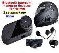 2pcs/Lot 800m Waterproof Motorcycle Helmet Full Duplex Bluetooth Headset Hand Free Intercom Ski Helmets Interphone Casque Audio