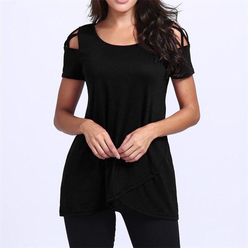 Women tshirt 2018 For Summer Black O Neck Short Sleeve Solid Casual Shirt Tops feminina camiseta #Y11