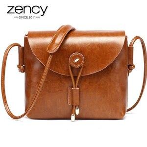 Image 5 - Borsa a tracolla da donna Zency stile semplice 100% borsa a tracolla piccola in vera pelle con patta piccola borsa a tracolla marrone nera