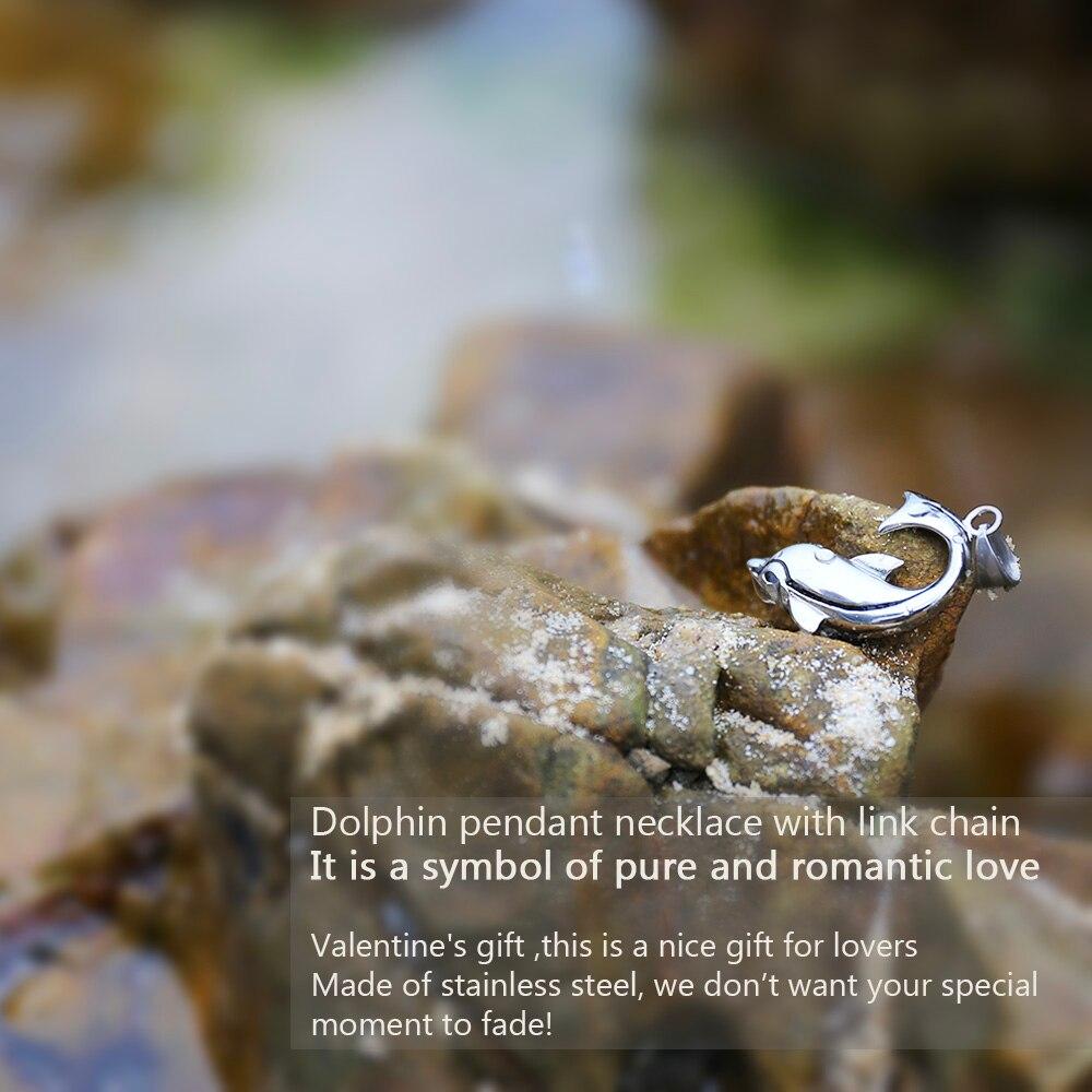 U7 ogrlica s dupinima srebrna boja privjesak i lanac od nehrđajućeg - Modni nakit - Foto 4
