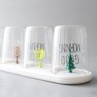 Home heat resistant glass cup set with drip rack milk cup tea cup fruit juice beer glass B