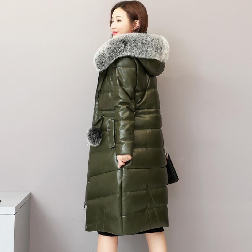Winter fashion brand big fox fur collar hooded 90% duck   down     coat   female real leather oversize longer thicker   down   parkas wq769
