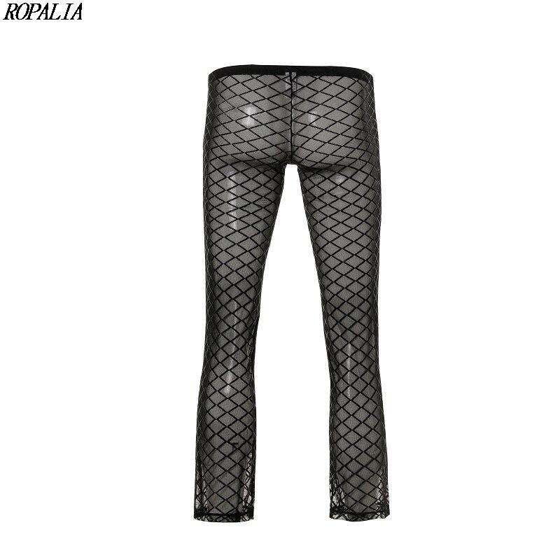 2019 Men Sexy Mesh Long Pant Sheer See-Through Loose Fit Pants Straight Leg Nightwear Pant