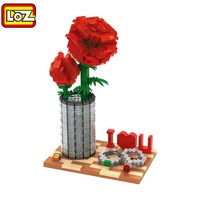 LOZ Diamond Blocks Valentine Day Love You Building Toys Red Rose Auction Figure Juguetes Adults Toys Gift For Girls 9022