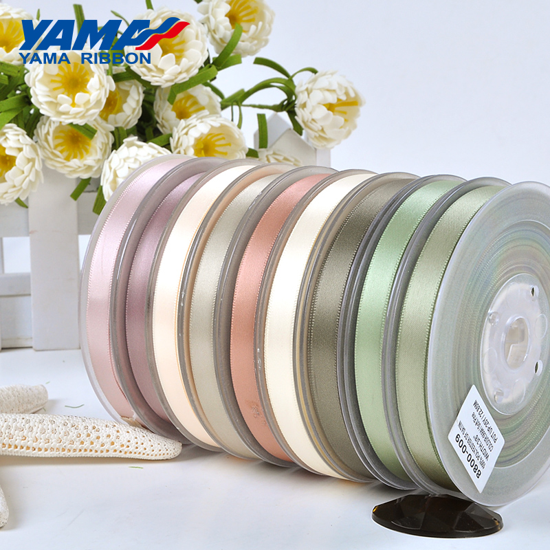 YAMA 100yards 6 9 13 16 19 22 mm Single Face Satin Ribbon Gold Brown Ribbons for Party Wedding Decoration Handmade Rose Gifts