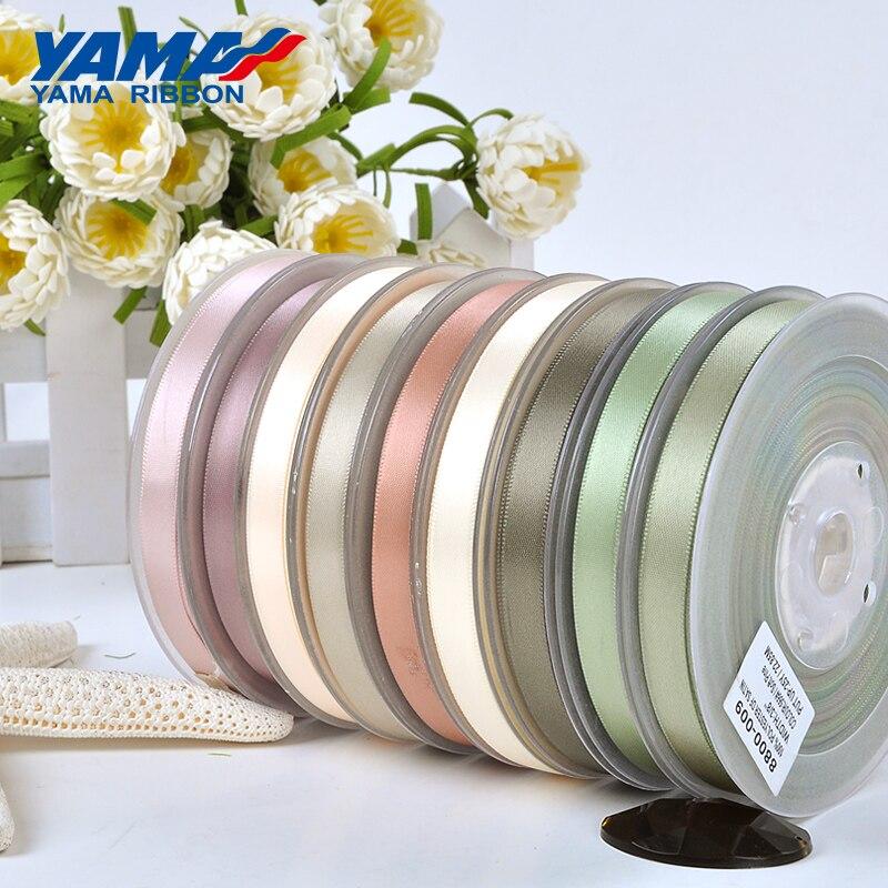 YAMA 100yards 6 9 13 16 19 22 mm Single Face Satin Ribbon Gold Brown Ribbons for Party Wedding Decoration Handmade Rose Gifts(China)