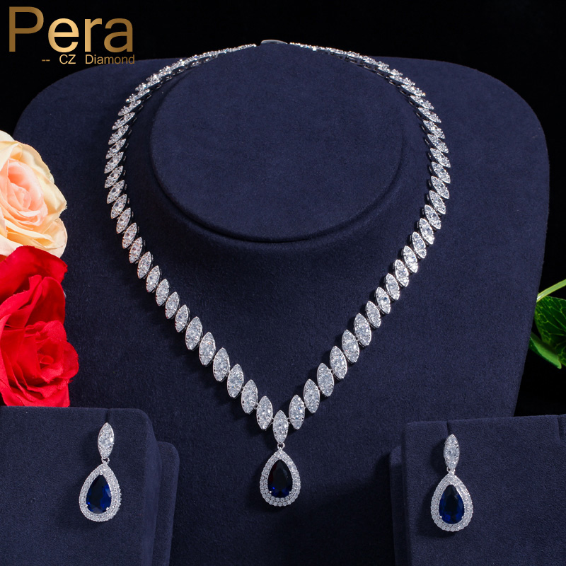 Pera CZ Bridesmaid Accessories Cubic Zirconia Stone Big Bridal Wedding Pera Cut Dropping Jewelry Sets J048