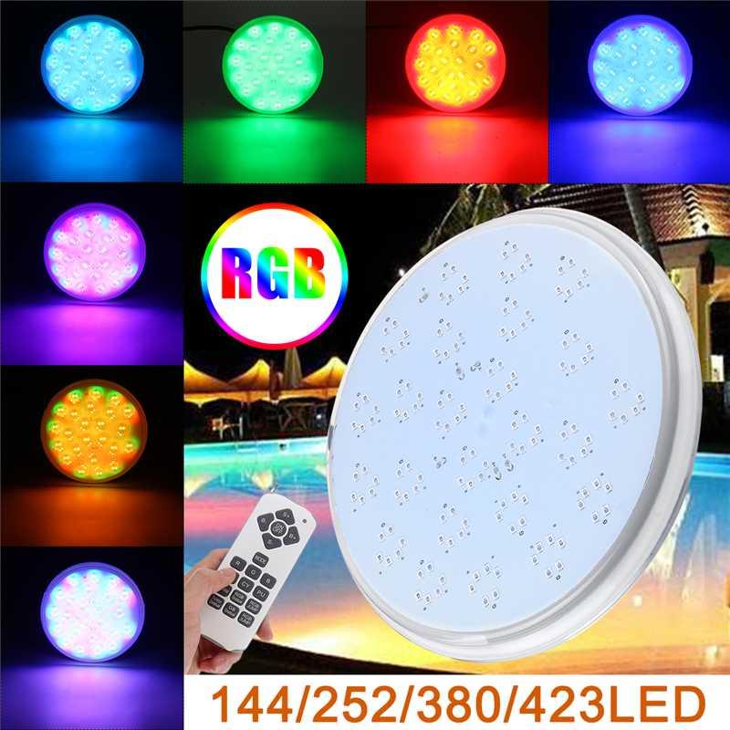 La lumière menée de piscine 144 a mené la lampe PAR56 de rechange de résine d'ac/DC12V rvb imperméable IP68 Multi couleur lumières sous-marines de fil de 2 m