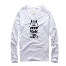 2016 new fashion brand clothing TShirt cotton Men Long Sleeve V neck Giraffe Star Wars Funny Tshirts homme Brand Clothes Men