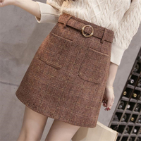 DoreenBow New Women Autumn Winter Wool Skirt HIGH QUALITY Zippers Plaid Sashes Ladies Girls Fahion Black