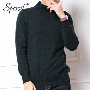Image 2 - Sparsil Men Winter Angora Knitted Sweater Autumn Half Turtle Neck Pullover Knitwear Classic Simple Solid Male Jumper Sweaters