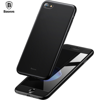 Baseus 360 Full Body Hard PC Case For iPhone 8 7 Plus Cover Tempered Glass+TPU Back Cover Protective Case For iPhone 8Plus 7Plus iPhone 8