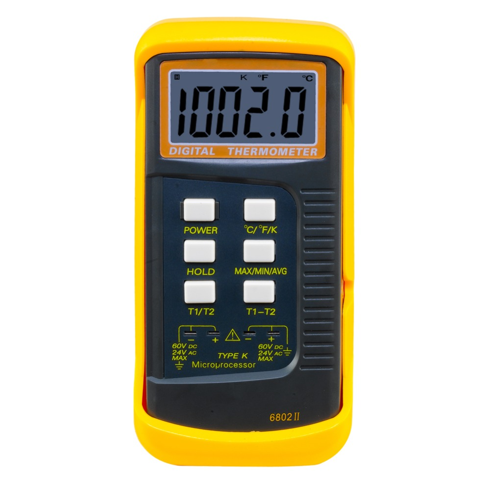 High Quality 6802 II Dual Channel Digital Thermometer With 2 K-Type Thermocouple Sensor Probe For BGA Rework HVAC k type j type thermocouple thermometers dual channel digital thermometers thermocouple probe