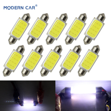 MODERN CAR 10pcs 31mm 36mm 39mm 41mm C5W LED COB Chips Bulbs Car Festoon Reading Light Auto Interior Dome Lamps 12V White