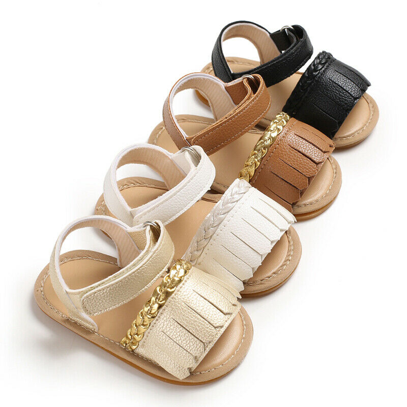 Newborn Baby Summer Sandals Tassel Soft Sole Crib Shoes Kids Anti-slip Prewalker 0-18M