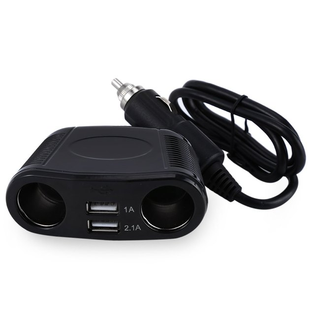 Hot sale Car DC 5V 1A & 2.1A Dual USB Charger Adapter 4 Way Multi Socket DC 12V/24V Cigarette Lighter Splitter USB Charger