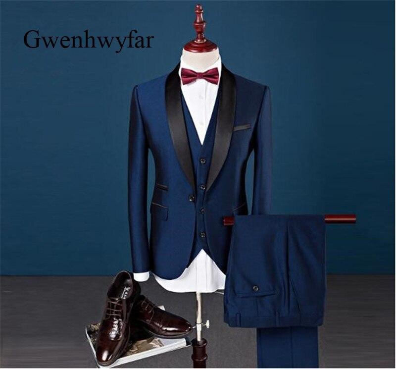 De Pièces bourgogne Smoking Fit Marine Bleu 3 D'affaires Hommes Marié Classique veste Mariage Mode Costumes Costume Bleu Pantalon Slim xxl Gilet Xxs qpn1707