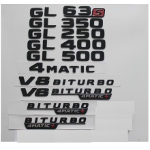 Gloss Black For Mercedes Benz X166 GL63 AMG GL350 GL400 GL500 GL550 V8 BITURBO 4MATIC Trunk Rear Star Emblems Badges Emblem