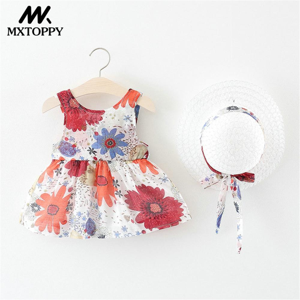 MXTOPPY Flower Baby Girls Dress 2018 Summer Sleeveless Printed Princess Baby Dresses For Baby Clothing