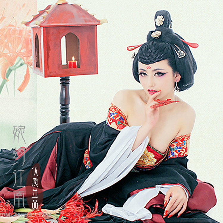 B-Shore 2014 New Arrival Gorgeous Aesthetic Black Tang Costume Hanfu Stage Photography Clothes with Tail Manjusaka