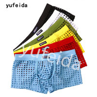 YUFEIDA 6PCS/Lot Sexy Men's Underwear Men Boxer Shorts Trunk Hollow Out Breathable Mesh Silk Boxers U Croth Wholesale Underwear