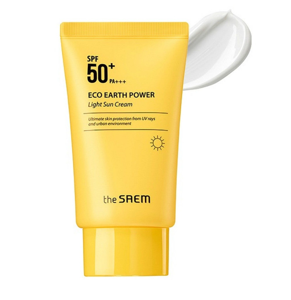 [The Saem] NEW Eco Earth Power Light Sun Cream SPF50+ PA+++ 50g - Korea Cosmetic тональный крем the saem bounce cream foundation spf50 pa 02 сменный блок