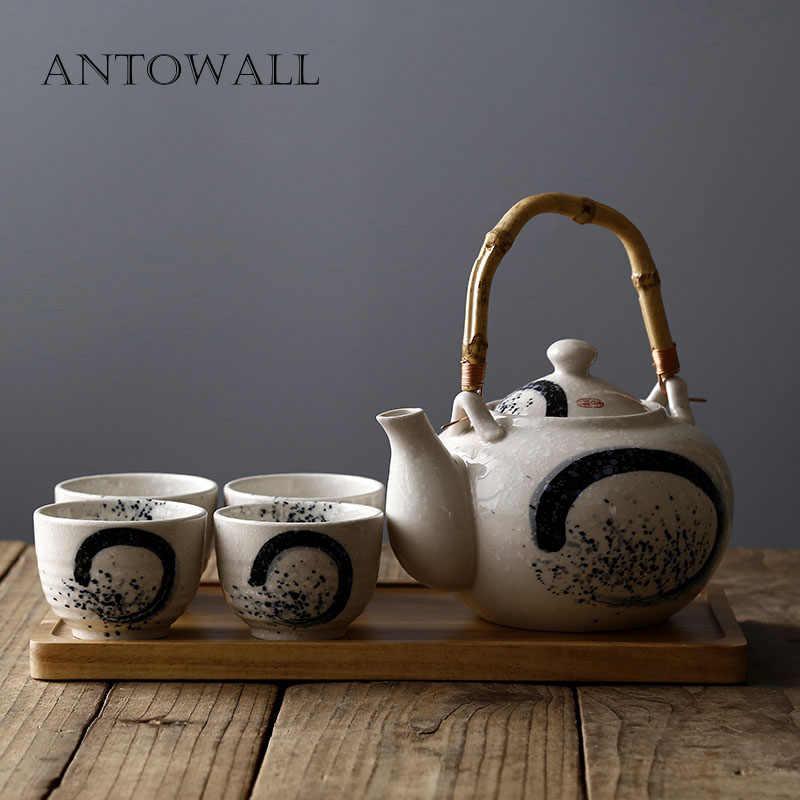 Towall estilo chinês bule de chá uma chaleira quatro xícaras simples cerâmica escritório casa chá conjunto chá acácia madeira chá bandeja cozy