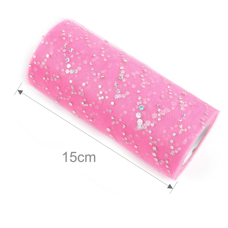FENGRISE Glitter Sequin Tulle Roll 25 yards 15cm Spool Tutu Wedding Decoration Organza Laser DIY Crafts Birthday Party Supplies