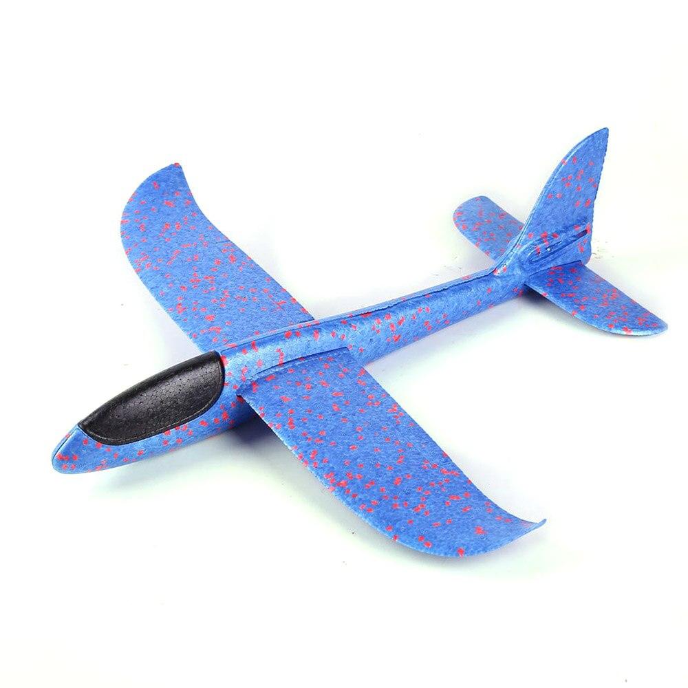 36 см DIY летающий самолет ручной бросок Летающий планер Самолеты игрушки для детей пена модель аэроплана вечерние уличные наполнители планер - Цвет: Синий