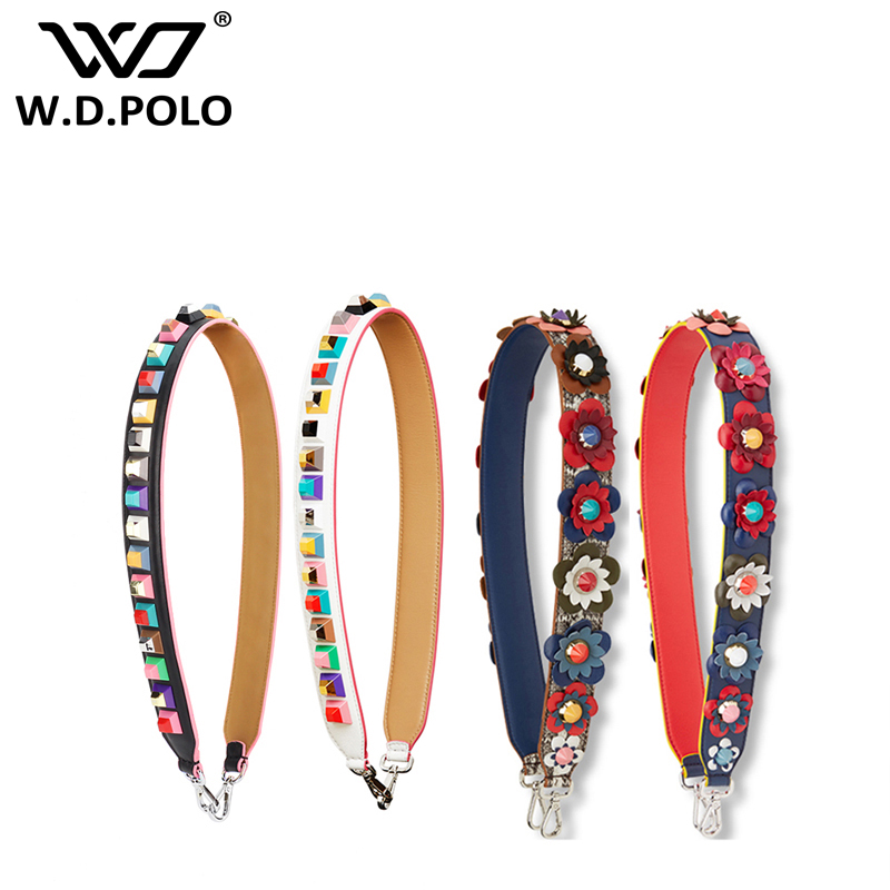Cooperative High Quality Female Handles Strap Colorful Rivet Genuine 90cm Leather Shoulder Strap Accessories For Handbags Bag Luggage & Bags