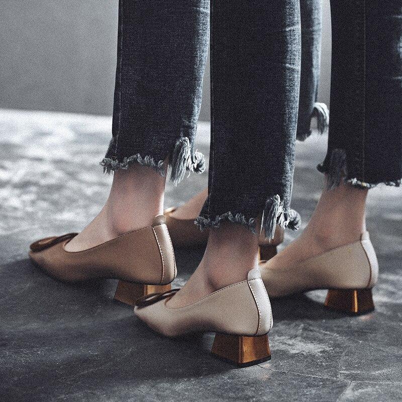 MYCORON/Новые модные женские кожаные ботинки на среднем каблуке, новые ботинки высокого качества, Классические слипоны для офиса, женская обув