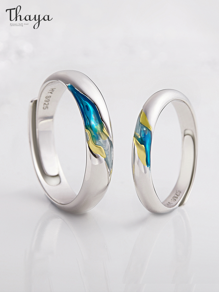 Thaya Couple Rings Symbol Wedding-Jewelry Resizable S925 Silver Women Love for Gifts