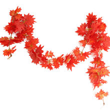 Windowill Autumn Leaves Garland Maple Leaf Vine Fake Foliage Decoration 2.4m 1ft Home Garden New Arrivals(China)