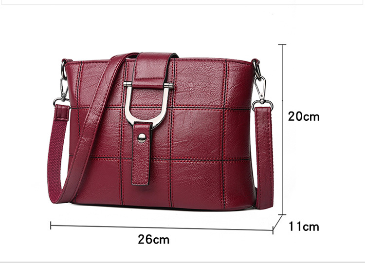 Women Quality Leather Plaid Pattern Handbag 18