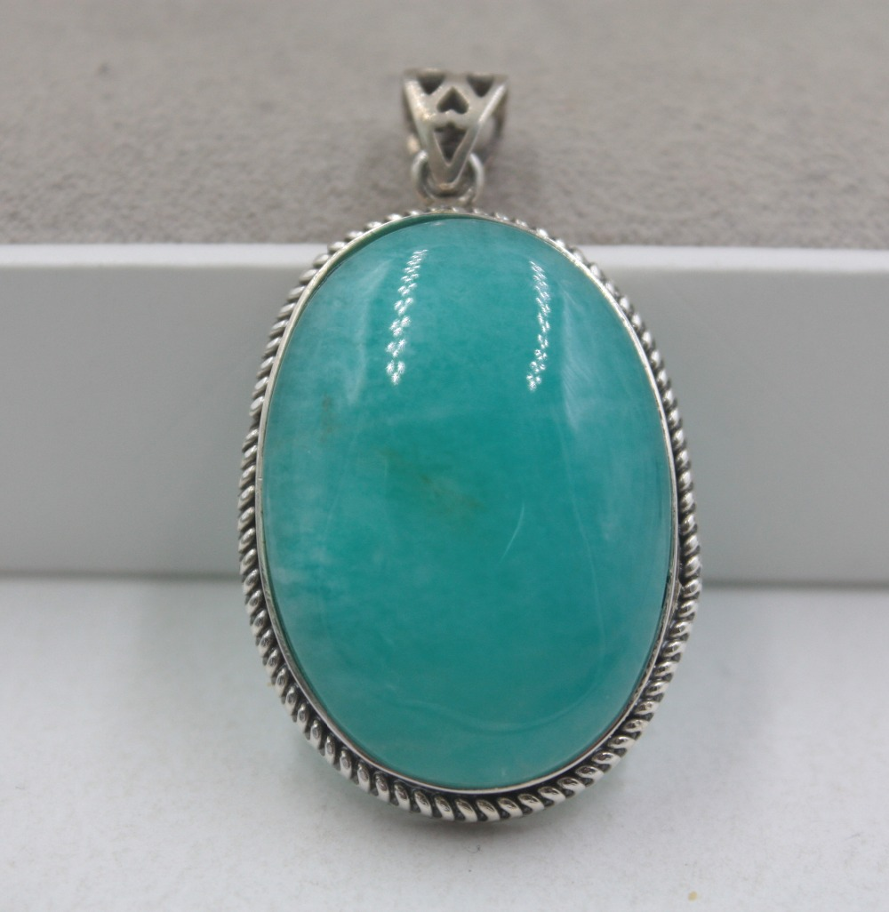Sterling S925 Silver Pendant Natural Blue Amazonite Oval Shaped Smooth For Women Lady Fashion Pendant 40*23mm 2019Sterling S925 Silver Pendant Natural Blue Amazonite Oval Shaped Smooth For Women Lady Fashion Pendant 40*23mm 2019