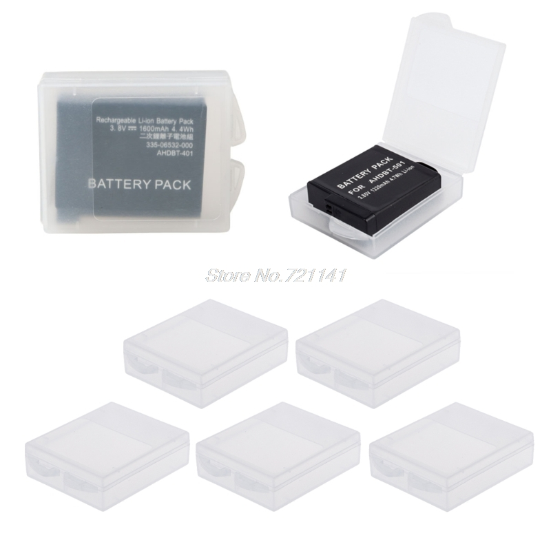 5pcs Battery Protective Storage Box Transparent Cover Case For GoPro Hero 5 4 Xiaomi Yi Camera Accessories Electronics Stocks