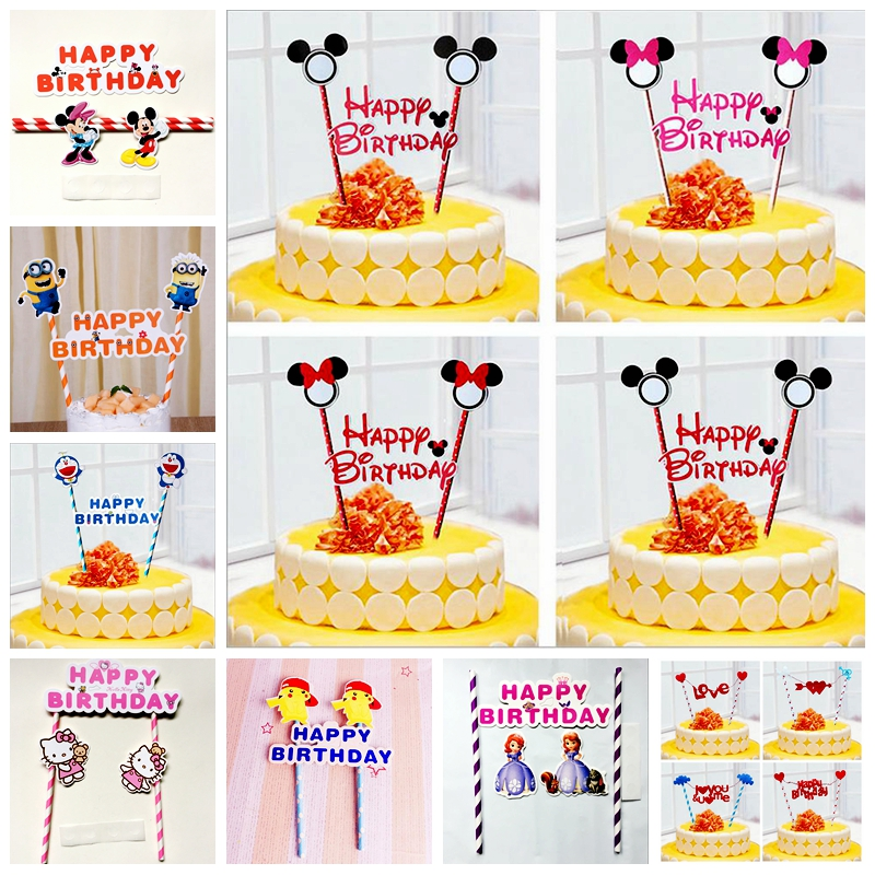 Cartoon Cupcake Toppers Mickey Minnie Sophia Despicable Me KT Cat Happy Birthday kids baby shower Party cake Decoration Supplies