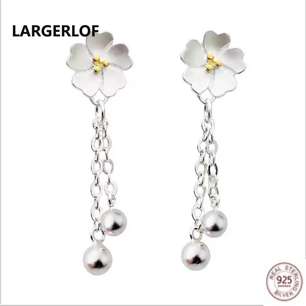 LARGERLOF 925 Sterling Silver Drop Earrings Women Fine Jewelry Handmade Flower Silver Earrings 925 ED10229