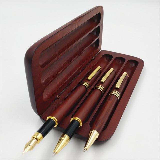 Stationery Three Pcs Roller Ball Pen Fountain Pen BallPoint Pen Wooden Pencil Case With Pencil Box