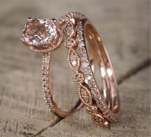 Fashion Rose Gold Ring Zircon Engagement Rings for Women Color Wedding Jewelry