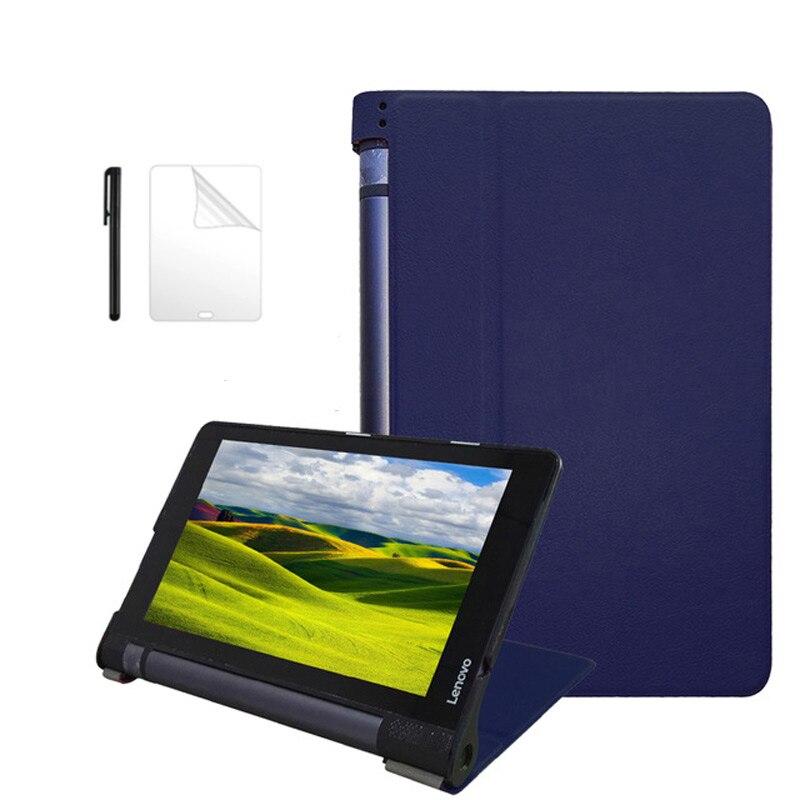 Galleria fotografica Ultra slim smart PU leather case for lenovo Yoga tab 3 8 8.0 inch 2015 release stand cover for Yoga tab 3 8 850F case+film+pen