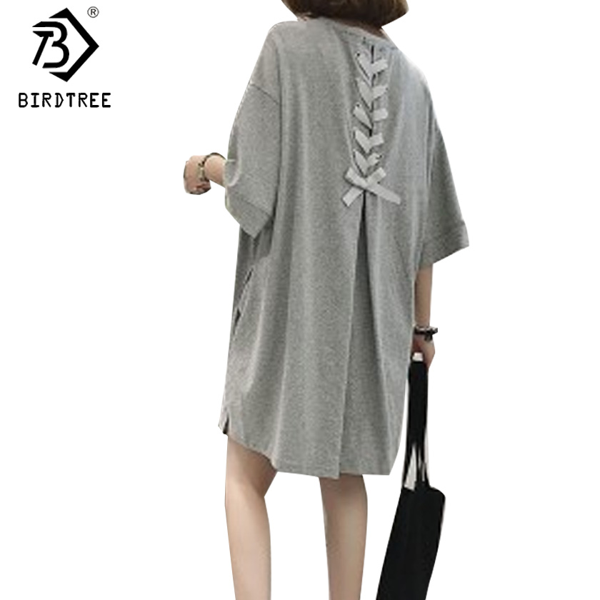 Korean Women O Neck Half Sleeves Solid Color Loose Midi Dress Back Bow Tied Bandage Autumn Plus Size 5XL Pregnance Dress D7N542A